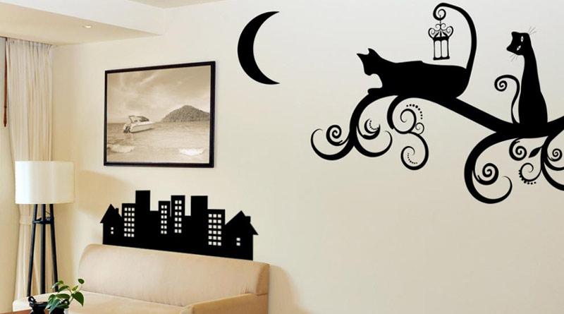 Принты в интерьере, трафареты для декора стен, наклейки на ... Черное Дерево На Белом Фоне