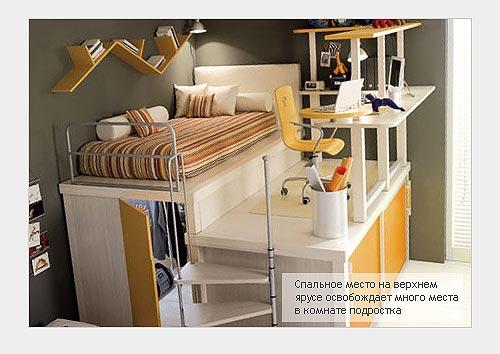 Экономия пространства в комнате подростка