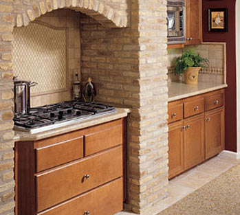 кухня в стиле кантри: плита в нише