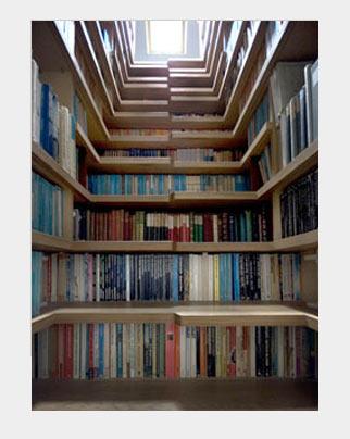 Книжный стеллаж в лестнице