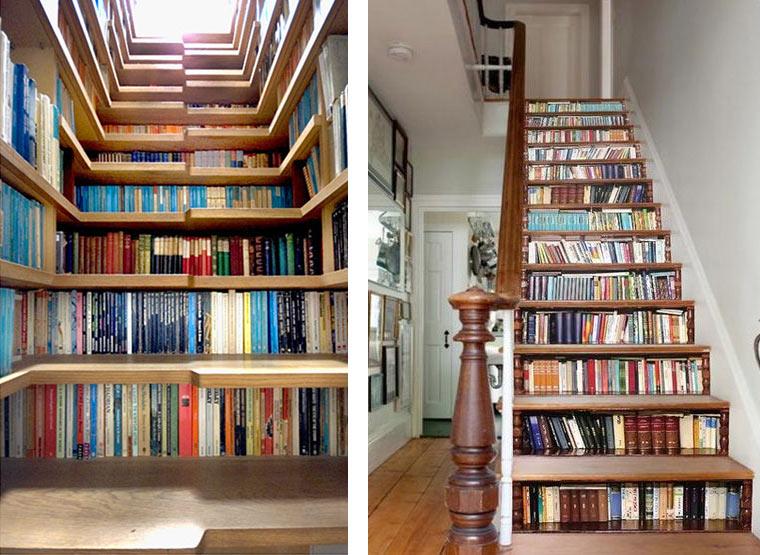 встроенная мебель. Стеллаж лестница
