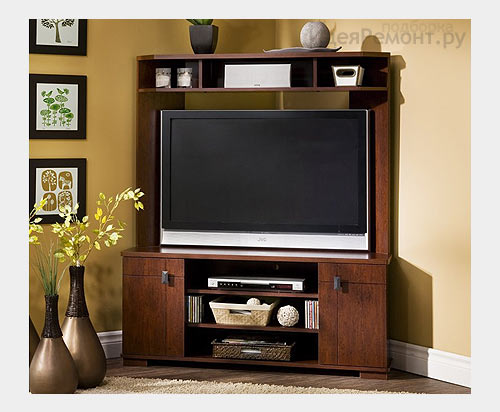 На фото: угловая мебель для ТВ