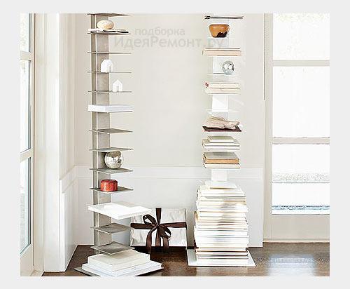 На фото: угловая мебель - напольные стойки с полками