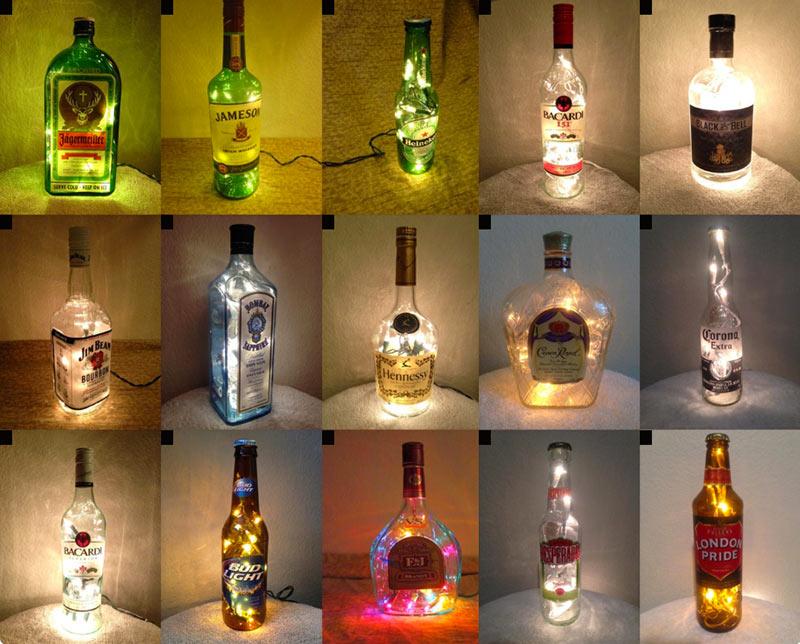 Бутылки, превращенные в модные светильники