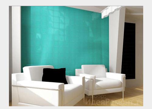 На фото: стена из цветных декоративных стеклянных панелей