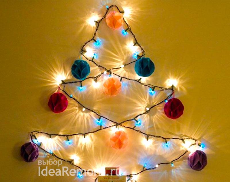 настенная елка-гирлянда украсит стены на Новый Год