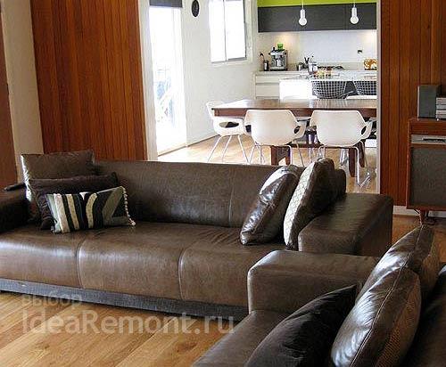 Кожаный большой диван