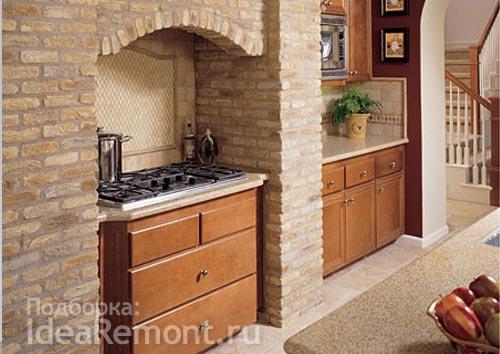 Размещение кухонного оборудования в нише на кухне