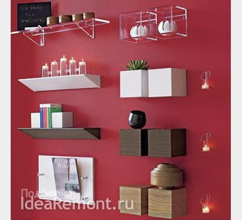 Дизайн стен: полки в стиле минимализм