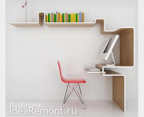 Полки на стене как часть мебели