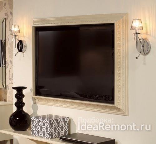 Телевизор в нише с рамой