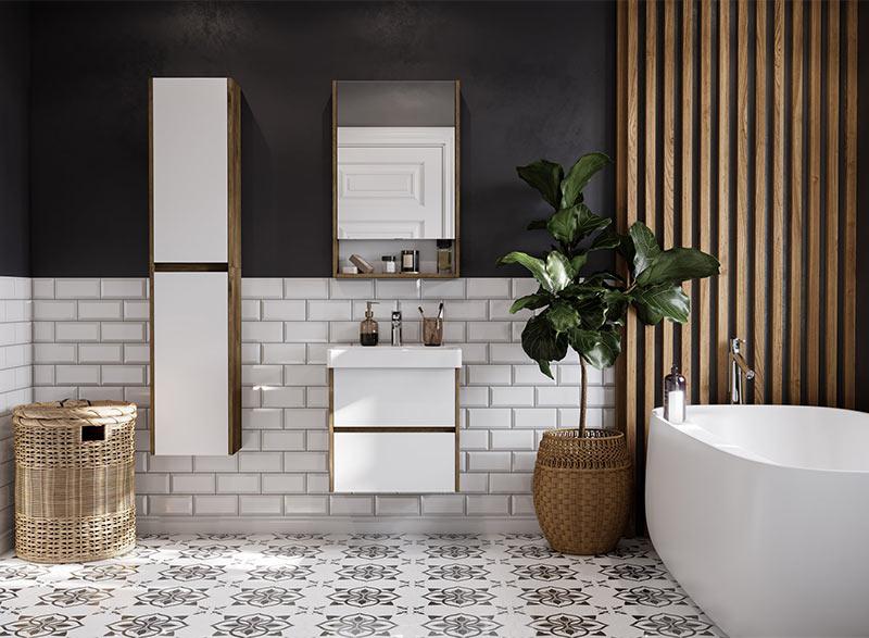 На фото: стильная ванная комната. Крупная кафельная плитка в пол-стены