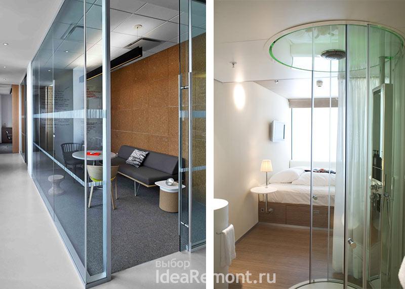 На фото: дизайн интерьера - стеклянные душевые и пр. кабины