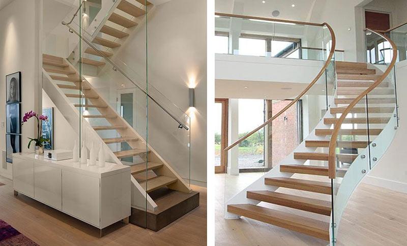 На фото: cтекло в ограждающих конструкциях лестниц и балконов