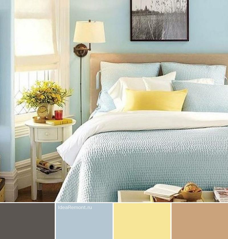 Цвет в спальне с ярким желтым акцентом