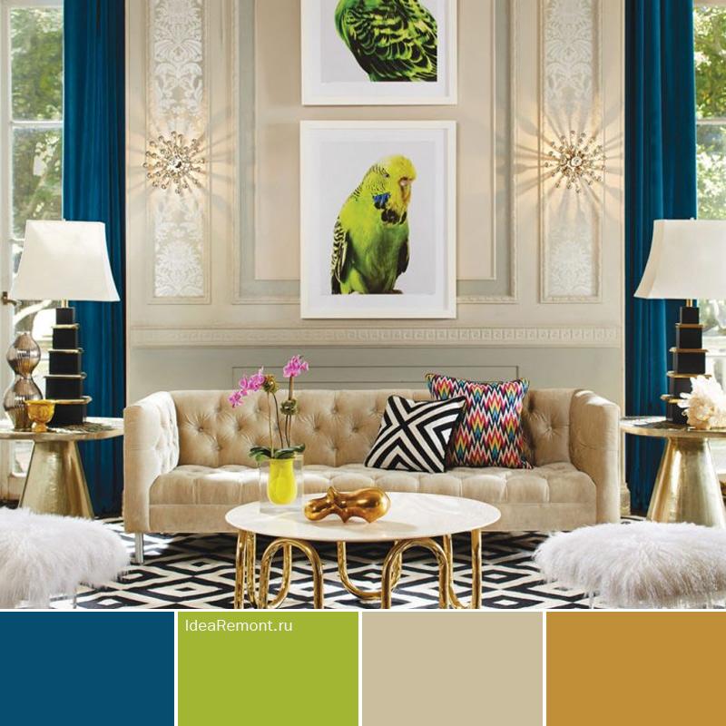 Картины и шторы - важный элемента дизайна интерьера