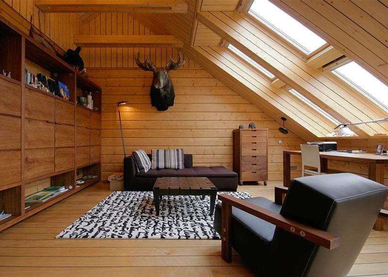 дизайн чердака в деревянном доме