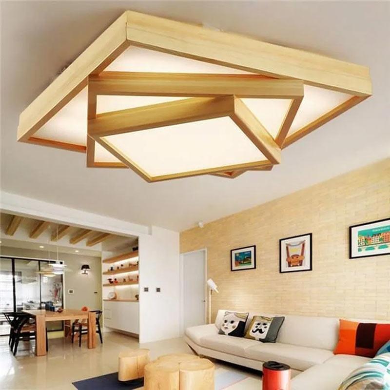 Необычный потолочный светильник - многослойная конструкция из светящихся коробов