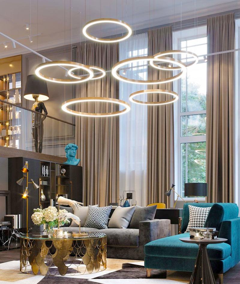 Кольцевые диодные светильники в современном интерьере