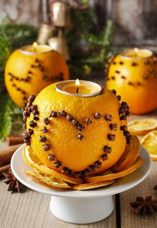 Свечки из апельсинов