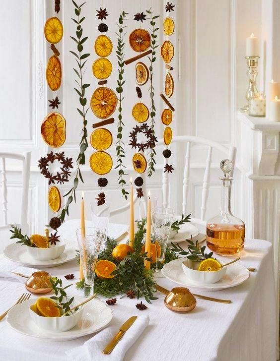 Новогодняя гирлянда из сушеных апельсинов