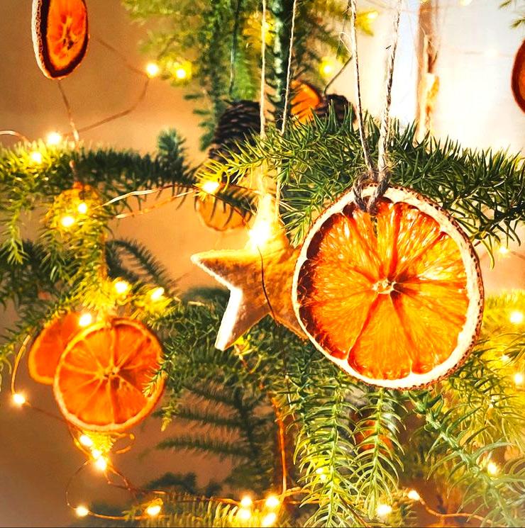 Елочные новогодние украшения из сушеных апельсинов