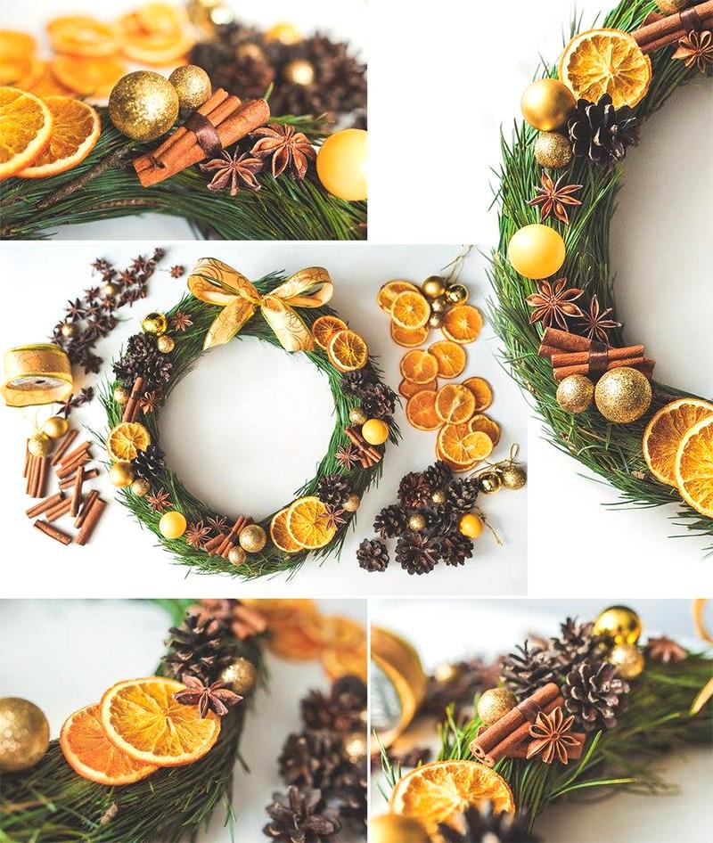 Новогодний венок с апельсинами и корицей