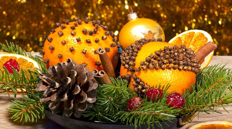 Новогодние украшения из апельсинов